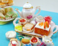 Miniatures Tea Party Set Deluxe with Foods and Dishes - 1/12 Scale Food Dollhouse Miniature Food