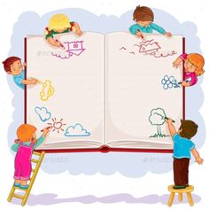 Buy Happy Children Together Draw on a Large Sheet by vectorpocket on GraphicRiver. Vector illustration of happy children draw on a large sheet of book, side view Kids Reading Books, School Frame, School School, School Murals, Garden Illustration, Borders And Frames, School Decorations, Background Banner, Drawing For Kids