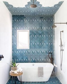 Adding bold tile inside your bathroom is a great way to transform any basic space into a breathtaking escape! Interior Rugs, Living Room Interior, Bathroom Interior, Modern Bathroom, Small Bathroom, Design Bathroom, Bathroom Ideas, Bathroom Inspo, Master Bathroom