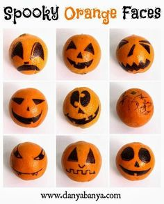 Make your own Spooky Orange Faces and add some Halloween to your fruit bowl. Halloween Theme Preschool, Halloween Themed Food, Halloween Fruit, Healthy Halloween Treats, Halloween Appetizers, Halloween Crafts For Kids, Spooky Halloween, Holidays Halloween, Halloween Themes