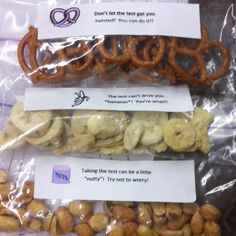Treat bags for ACCESS   testing week minus the one with nuts
