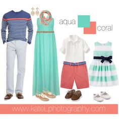 Preppy Family // Aqua + Coral by katelphoto on Polyvore featuring Alice & You, Vineyard Vines, A.N.A, Vivienne Westwood, Max Studio and Carter's