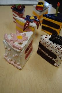 Ceramic cake slice boxes based on the work of Wayne Theibaud. 2019 Ceramic cake slice boxes based on the work of Wayne Theibaud. The post Ceramic cake slice boxes based on the work of Wayne Theibaud. 2019 appeared first on Clay ideas. Clay Art Projects, Sculpture Projects, School Art Projects, Ceramics Projects, Clay Crafts, Sculpture Lessons, Food Sculpture, Clay Sculptures, High School Ceramics
