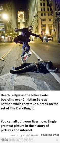 Heath Ledger skateboarding and jumping over Christian Bale during a break while filming. O_O