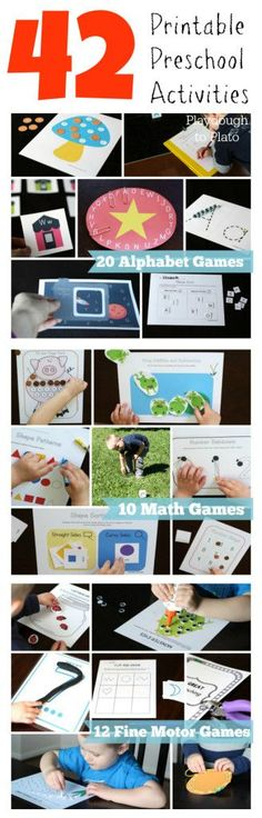 Easy way to get kids ready for kindergarten this summer. 42 fun, printable math, alphabet and fine motor activities. {Playdough to Plato}