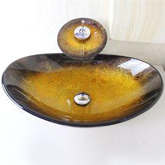 彩色上絵洗面ボウル&蛇口セット 洗面台 手洗い器 強化ガラス製 排水金具付 楕円形