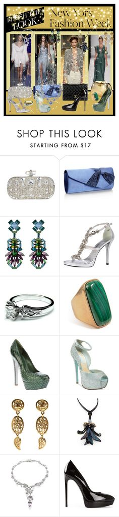 """Finish the NYFW Look Contest"" by googie-googie ❤ liked on Polyvore featuring Versace, Carolina Herrera, Marchesa, Debut, DANNIJO, Stuart Weitzman, Emilio Pucci, Sergio Rossi, Betsey Johnson and Chanel"