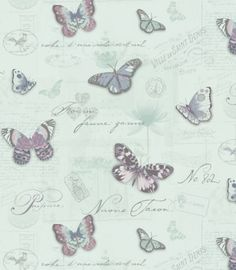A luxury paste the wallcovering. Evelyn is a pretty collage with butterflies. It has a vintage feel and has contrasting mica, metallic and matt inks. This design is from the Camille pattern book Duck Egg Blue Wallpaper, Butterfly Wallpaper, Wall Wallpaper, Wallpaper Ideas, Decoupage, Heathers Wallpaper, Silver Highlights, Blue Wallpapers, Cellphone Wallpaper