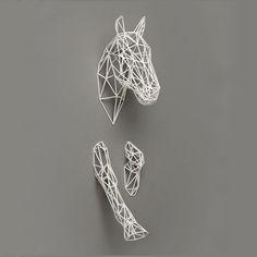 Equus Horse Sculpture from notonthehighstree. - I love the contrast of the white sculpture against the dove grey wall. Horse Sculpture, Wall Sculptures, Straw Sculpture, Sculpture Ideas, Boli 3d, Stylo 3d, Ideias Diy, Pen Art, Wire Art