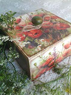 Купить Короб для кухни и интерьера Маки - короб, маки, короб для хранения, кантри, стиль кантри
