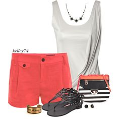 White Tank and Colored Shorts by kelley74 on Polyvore featuring polyvore, fashion, style, Jane Norman, rag & bone, Ancient Greek Sandals, 1928 and Kate Spade
