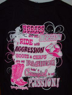 """Girlie Girl T-Shirt - """"Horses Black"""" Visit our Facebook page, www.facebook/cajuntrade"""