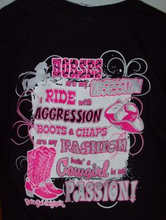 "Girlie Girl T-Shirt - ""Horses Black"" Visit our Facebook page, www.facebook/cajuntrade"