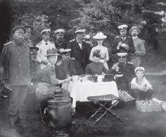 Tsar Alexander lll and Marie Feodorovna, Grand Duke Alexander Mikhailovich,Grand Duke George Alexandrovich, Grand Duchess Xenia Alexandrovna, Grand Duke Mikhail Alexandrovich having a picnic