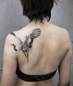 32 Enchanting Tattoo Designs That Will Attract Everyone - Tatoo Form Tattoo, Tattoo Motive, Unique Tattoos For Women, Trendy Tattoos, Bodysuit Tattoos, Heron Tattoo, Crane Tattoo, Vogel Tattoo, Neue Tattoos