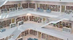 Stuttgart City Library, Germany—The World's Most Beautiful Libraries - Condé Nast Traveler City Library, Dream Library, Luz Natural, Stuttgart Library, Stuttgart Germany, Alexandria House, Bountiful Garden, Beautiful Library, Open Plan