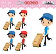 Chibi Delivery Hand Truck Clipart. Cute worker delivery cardboard boxes. Set great for planner Stickers or scrapbooking. Commercial Use Ok.  Graphics come free of watermarks.  More kawaii cliparts here: http://mycutiestore.etsy.com  For printables visit: http://designby2.etsy.com  ❤❤❤FAQ❤❤❤  ❤ Layer,rotate and scale without loss of quality. *u*  ❤Includes ZIP with the individual graphics in PNG files at 300 DPI. ❤❤❤DOWNLOAD❤❤❤ -Paypal: Instant download -Credit cards: Etsy ...