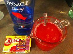 Swedish fish Jell-O shots!  Cherry lemonade jello & gummy pinnacle vodka!  Yum!