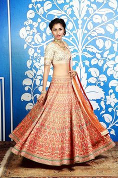 Orange Dori Embroidered Silk Lehenga Set With Gota Patti Indian Bridal Fashion, Indian Wedding Outfits, Indian Outfits, Indian Clothes, Indian Weddings, Ethnic Fashion, Asian Fashion, Women's Fashion, Blouse Lehenga