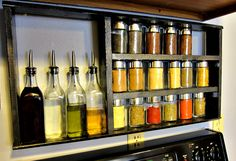 Yay! Apartmenting : DIY Pallet Spice Rack -- this is useful, and could go above the stove, but...how would i stick it to the concrete walls?