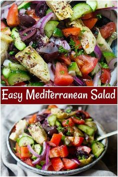This Mediterranean salad is loaded with fresh vegetables such as cucumbers, tomatoes and herbs. This fresh salad is flavored with a delicious dressing. mediterraeansalad mediterraneanrecipes healthyfood glutenfree saladrecipe via 239253798940210921 Vegetable Salad, Vegetable Recipes, Mediterranean Salad Recipe, Mediterranean Meals, Mediterranean Salad Dressing, Clean Eating, Healthy Eating, Healthy Salad Recipes, Healthy Summer Recipes