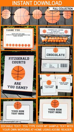 FREE Printable Basketball Themed Party Invitations Themed parties