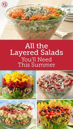 Leveled-Up Layered Salads – Betty Crocker Leveled-Up Layered Salads Serve salads with a little more style than the usual. These layered wonders are eye-catching and mouthwatering at once! These stunning salads make a great addition to any dinner table! Clean Eating Snacks, Healthy Eating, Cooking Recipes, Healthy Recipes, Great Salad Recipes, Vegetable Salad Recipes, Vegetable Soups, Veggie Food, Cooking Tips