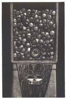 Gumball machine Mezzotint print - Chance
