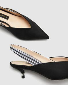 ZARA Gingham Slingback Kitten heels on Mercari Kitten Heel Slingback Shoes, Kitten Heels, Shoes Heels, Pretty Shoes, Cute Shoes, Me Too Shoes, Solange, Black High Heels, Shoe Boots