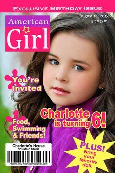 15 Custom American Girl Doll Magazine Birthday Party by NuanceInk, $15.00