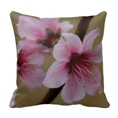 Floral, Pink Blossoms on light green back Throw Pillow