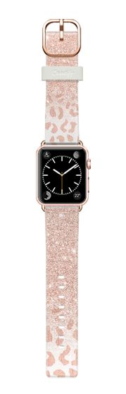Casetify Apple Watch Band (38mm) Casetify Band - Modern chic rose gold glitter ombre rose foil leopard pattern by Girly trend by Girly Trend #Casetify