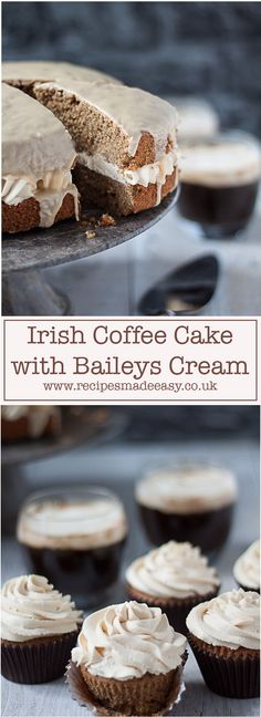 Spoil yourself with this decadent Irish coffee cake laced with whiskey and filled with a delicious Baileys flavoured cream. Or try the individual Irish coffee cup cakes via @jacdotbee