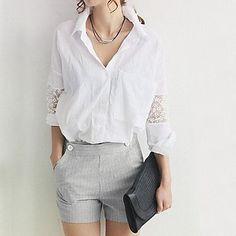 gorgeous lace detailing on this women's lapel shirt
