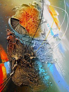ALDHAFARA Tableau abstrait moderne contemporain peinture acrylique en relief