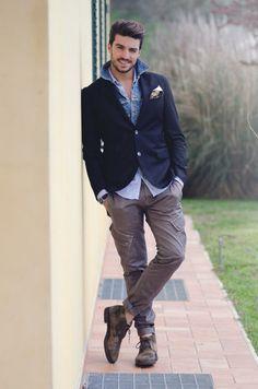 denim shirt + blue blazer. Mens fashion styles.  Hairstyles beards