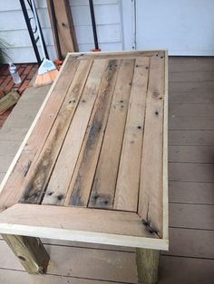 Stain for outdoors and that's a great table for my potted plants. Gina maybe we can make something like this with that wood