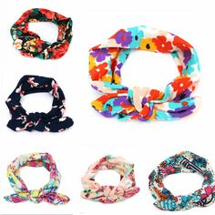 Sale 24% (2.34$) - Kids Baby Girl Infant Floral Flower Bow Hairband Turban Knot Rabbit Headband Headwear Accessories
