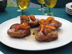 Get Pain Perdue with Fresh Peaches and Vanilla Butter Recipe from Cooking Channel
