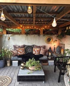 Do you need inspiration to make some DIY Outdoor Patio Design in your Home? Design aesthetic is a significant benefit to a pergola above a patio. There are several designs to select from and you may customize your patio based… Continue Reading → Decor, Outdoor Decor, Bohemian Decor, Patio Furniture, Outdoor Improvements, Patio Decor, Outdoor Patio Decor, Mediterranean Decor, Backyard Storage