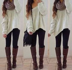 Chunky white sweater, black leggings and brown boots combo.