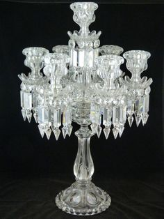Baccarat French Crystal Seven Armed Candelabra