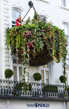 The world's largest hanging basket, at the Hotel Indigo, Paddington, London, U.K.