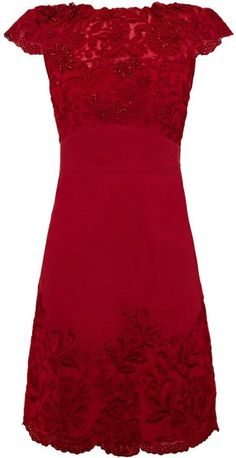 Karen Millen Colored Lace Beaded Dress in Red - Lyst