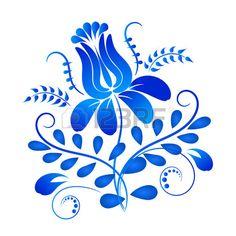 Blu elemento di design ornamento in stile Gzhel isolato su sfondo bianco. Archivio Fotografico