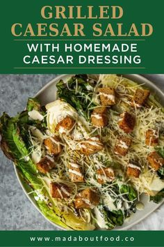 With lightly charred lettuce and homemade dressing, this tasty salad would make Caesar proud. A delicious grilled Caesar salad with a creamy homemade caesar dressing Homemade Caesar Salad Dressing, Homemade Dressing, Salad Dressing Recipes, Grilled Romaine, Tasty Bites, Grilled Meat, Summer Salads, Original Recipe, Lunch Ideas