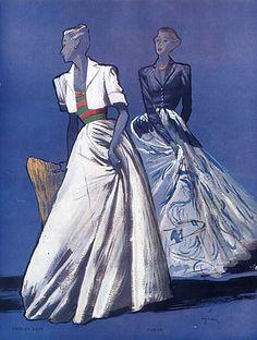 René Gruau 1946 Paquin, Jacques Heim, Fashion Illustration, Evening Gown