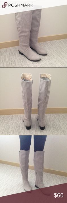 NWT Gray Knee High Suede Boots Size 8 So chic! Boutique Shoes Heeled Boots
