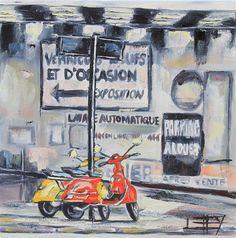 "Original art for sale at UGallery.com | Vespas in Paris by Lisa Elley | $500 | oil painting | 12"" h x 12"" w"
