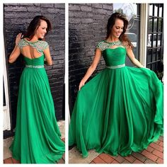 Upd0066, Emerald Prom Dresses, High Neck, Beading Crystals, Mint, Chiffon, Formal Evening Gowns, with Cap Sleeves, Keyhole Back, Sweep Train